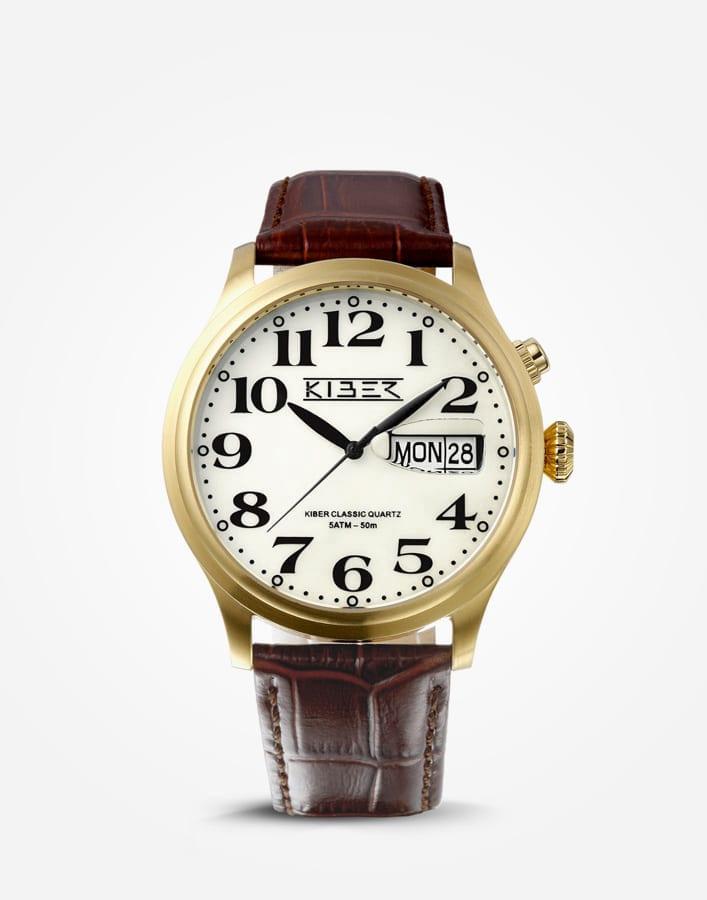 Kiber Iluma goudkleurig horloge met grote cijfers