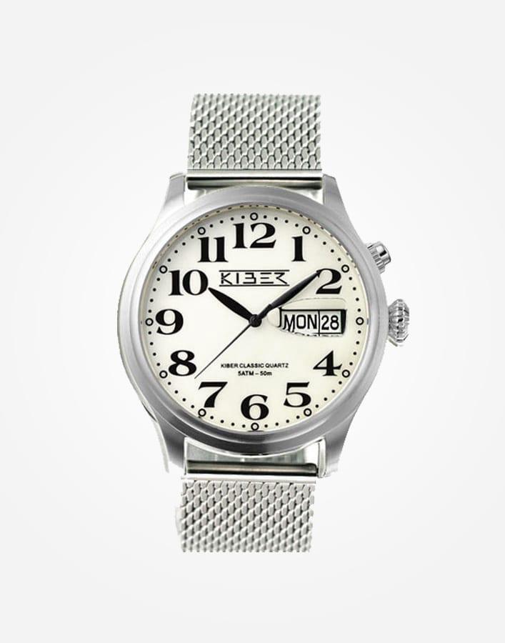 Kiber Iluma RVS horloge met stalen band en grote cijfers